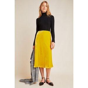 NWT Anthro Yellow Kelly velvet skirt size M